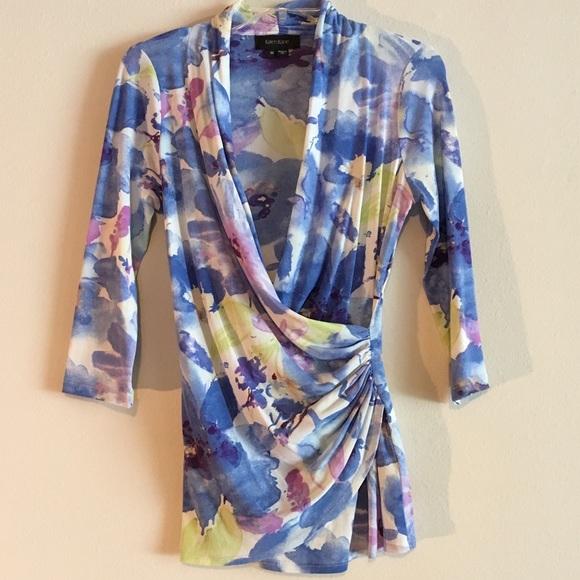 44e25606b29f Karen Kane Tops - Karen Kane Pastel Mesh Wrap Floral Stretchy Top